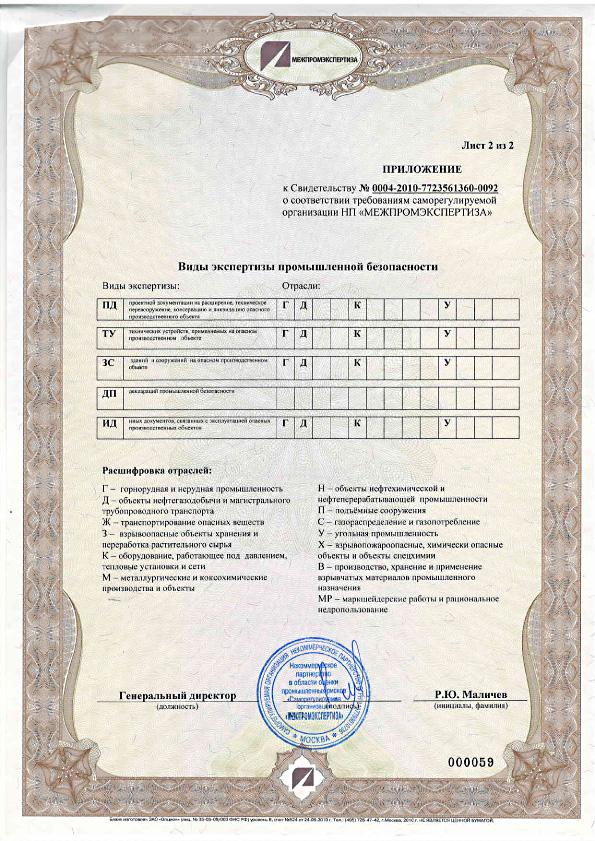 Приложение к свидетельству № 000004 о соответствии требованиям саморегулируемой организации НП «Межпромэкспертиза»
